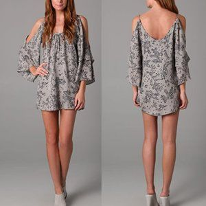 Parker Slit Sleeve Silk Cat Print Dress S